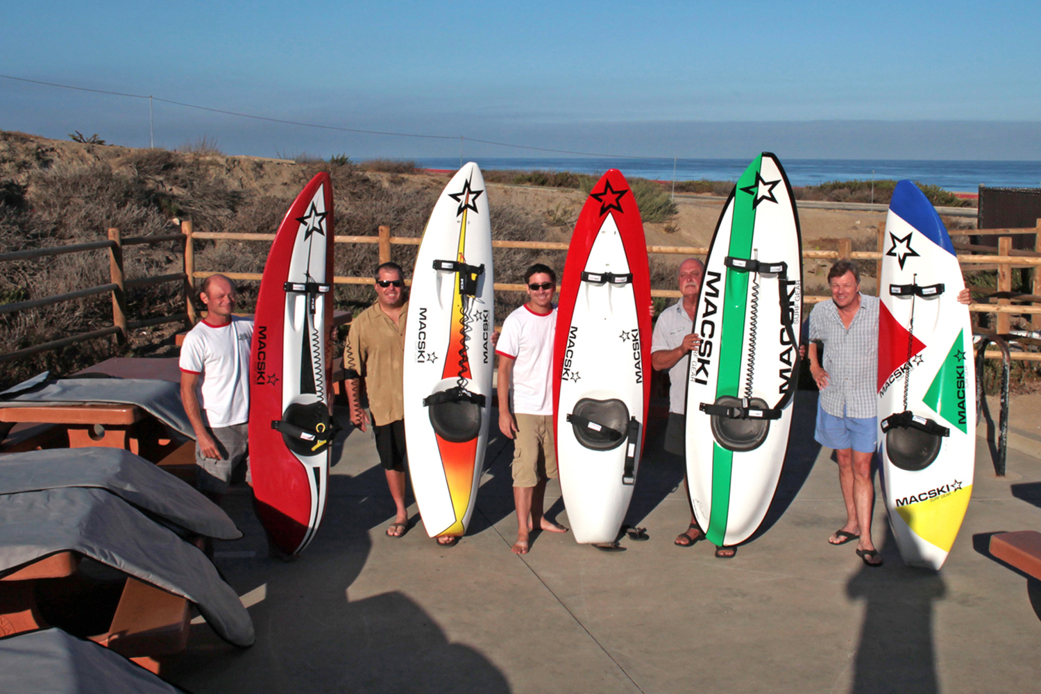 Sunday August 17, 2014.With from the left: Dom, Kevin, Alex, Dick, and Barry with their new Macski at Torrey Pines (click on pic to access video)