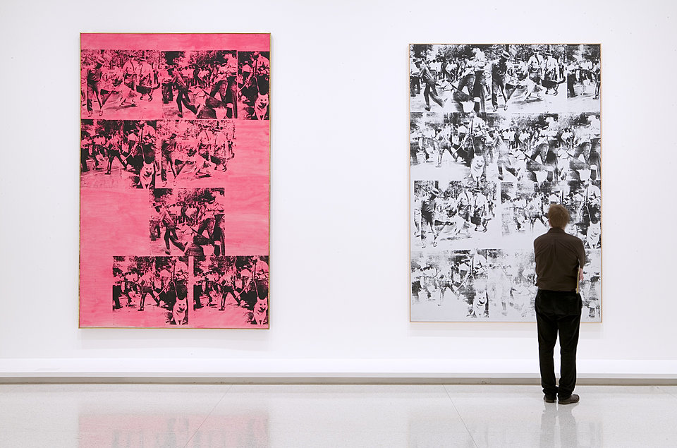 Installation view of ANDY WARHOL/SUPERNOVA: Stars, Deaths, and Disasters, 1962–1964, with Race Riot and Pink Race Riot, both 1963  Photo: Gene Pittman