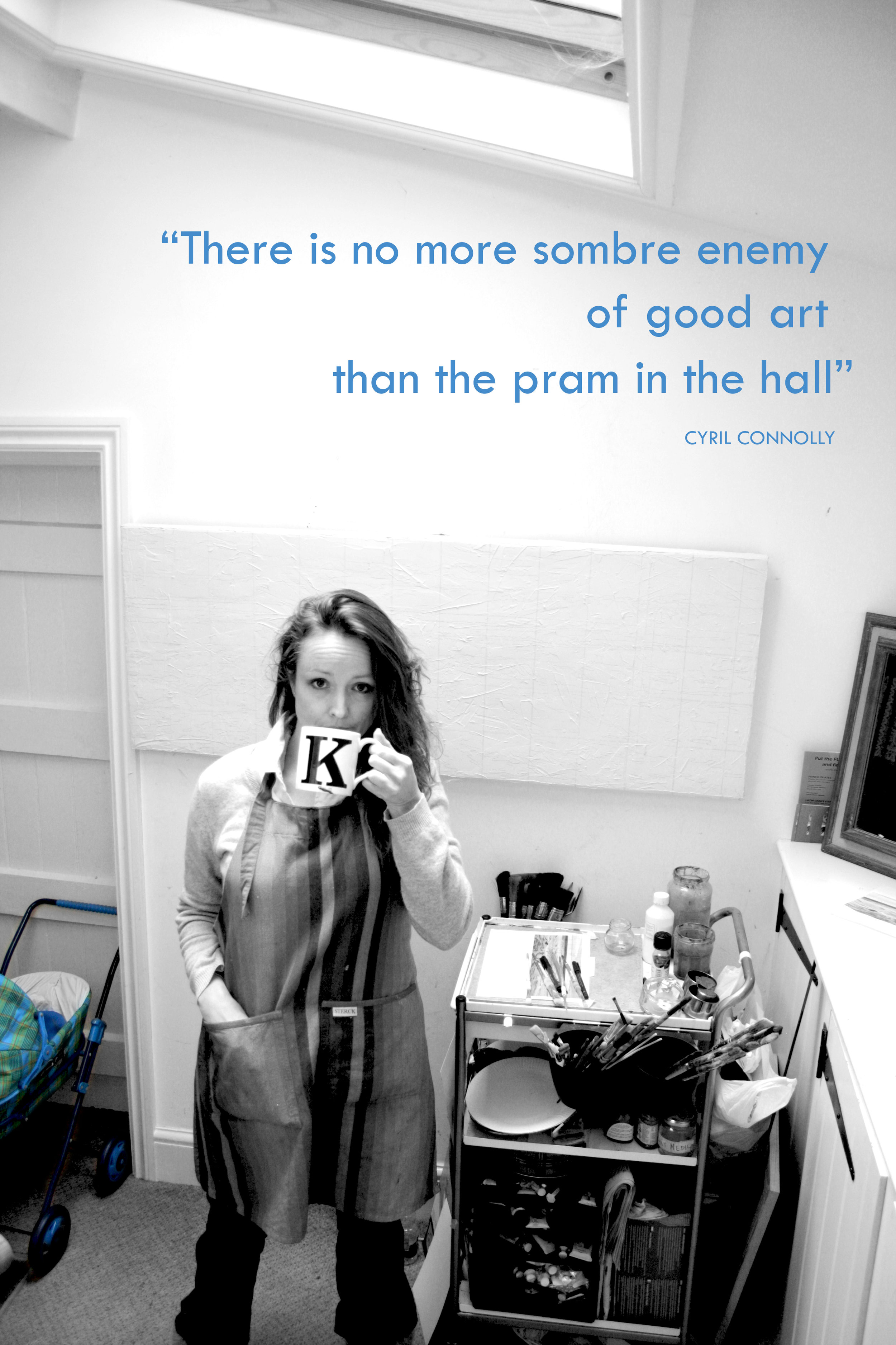 Karen, paints in her hall because of the natural light from above, and in spite of the pram...