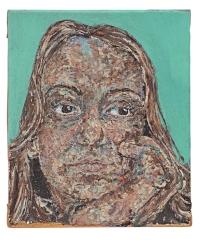 Georgina McCann's acrylic portrait of 'Hero'...