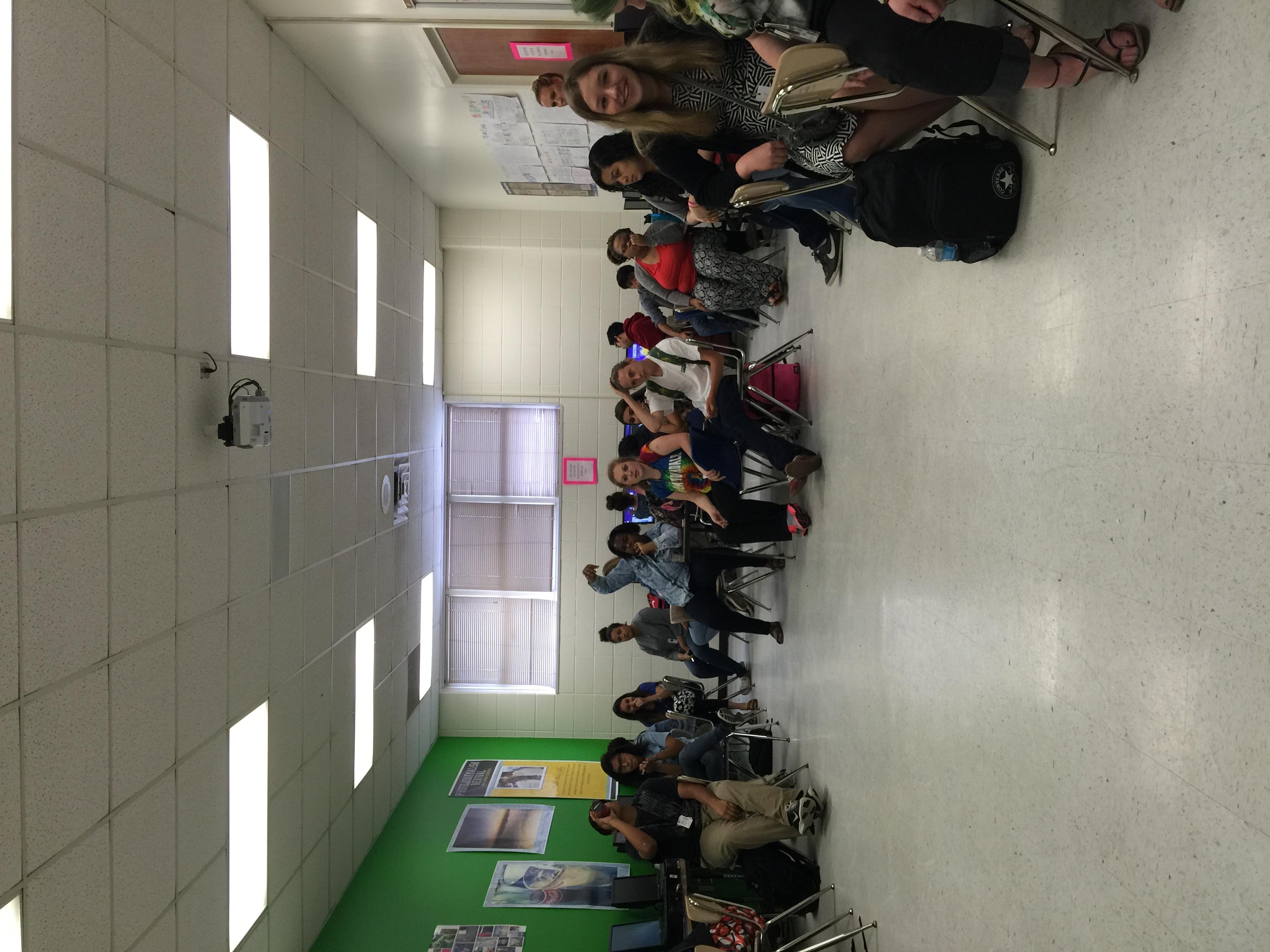 Presenting at Ball High School, Galveston, TX