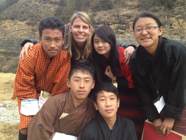 Sarah Meghan Lee with her photography students in the Kingdom of Bhutan.