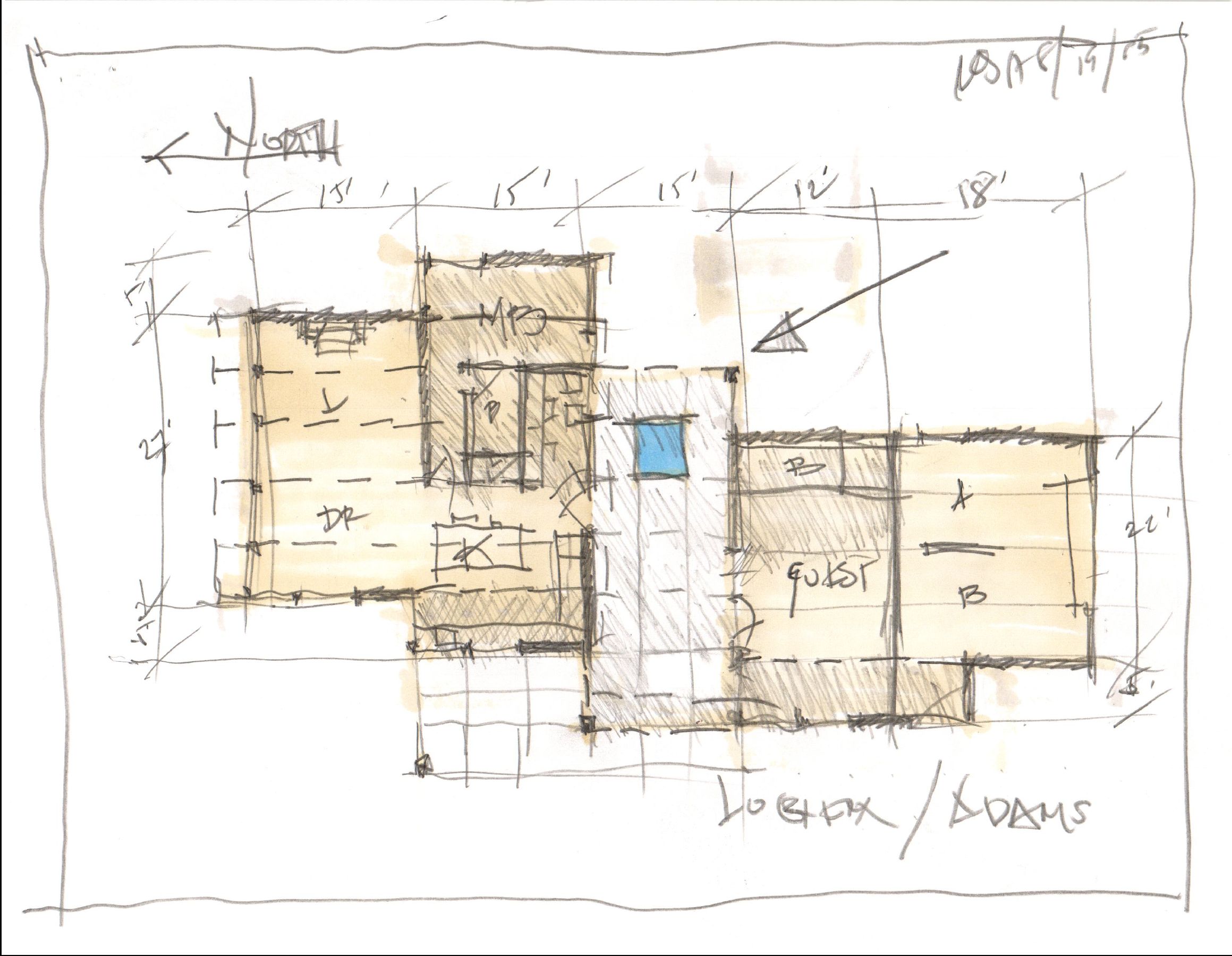 Early concept sketch — a view from every room