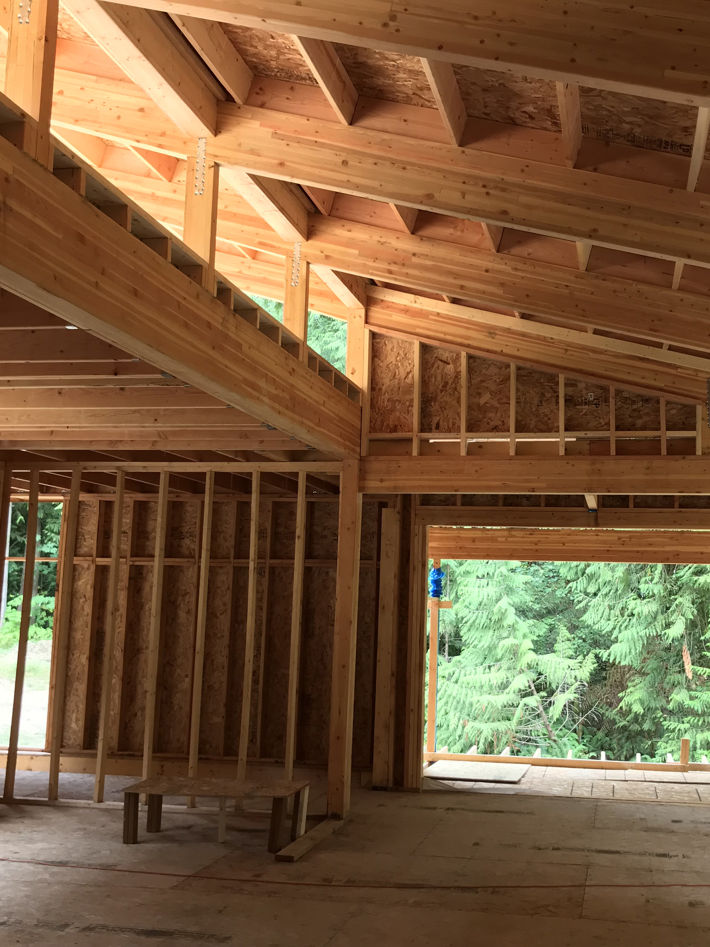 The 27' wide clerestory admits sunlight into the center of the house. The openings will be filed with operable awning widows that will allow the hot air to naturally escape, drawing cooler air in through low awning windows near the floor on the opposite window wall.