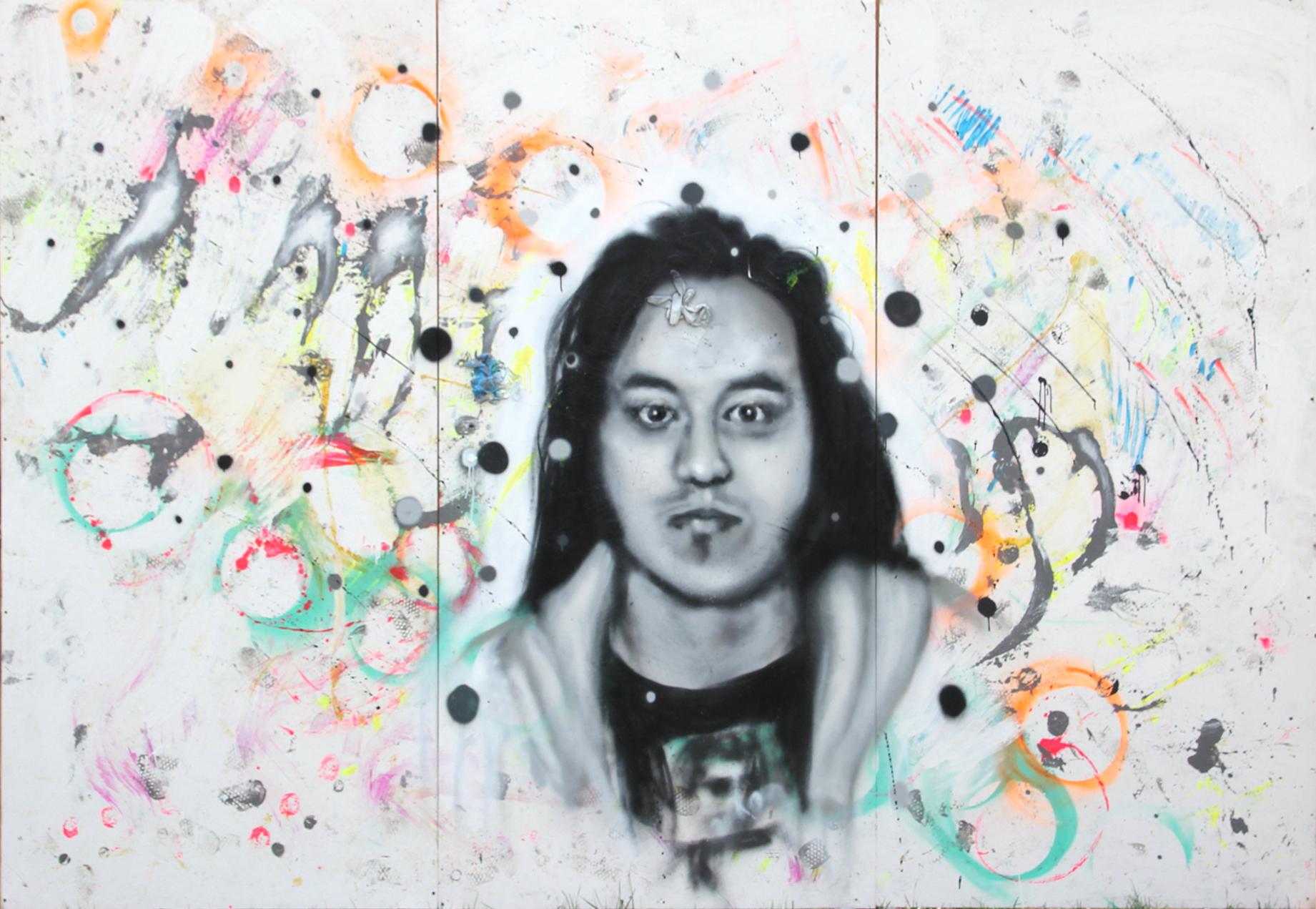 """Honda"". Aerosol and Acrylic on Wood Panels. 12ftx8ft. 2016. Painted live at Treefort Music Festival"