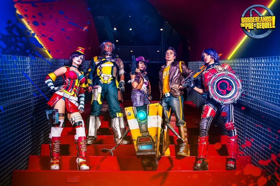 Our official Gearbox/2K Borderlands: Pre-Sequel group photo by Photography by Darshelle Stevens    Moxxi is Cnidarium   Wilhelm is Stupid Sexy Robot   Nisha is Sam Skyler   Claptrap was made by Black & Nobo Cosplay   Jack is Ryan Cryptic   Athena is meeeee!!!