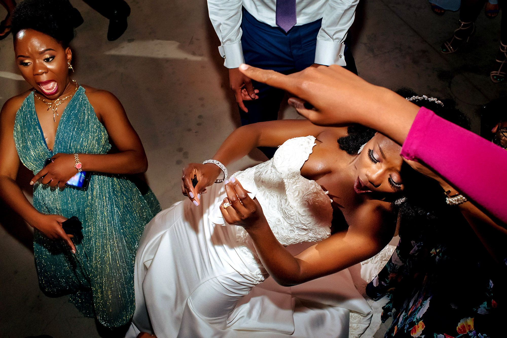 over heard shot of bride and her sister.jpg
