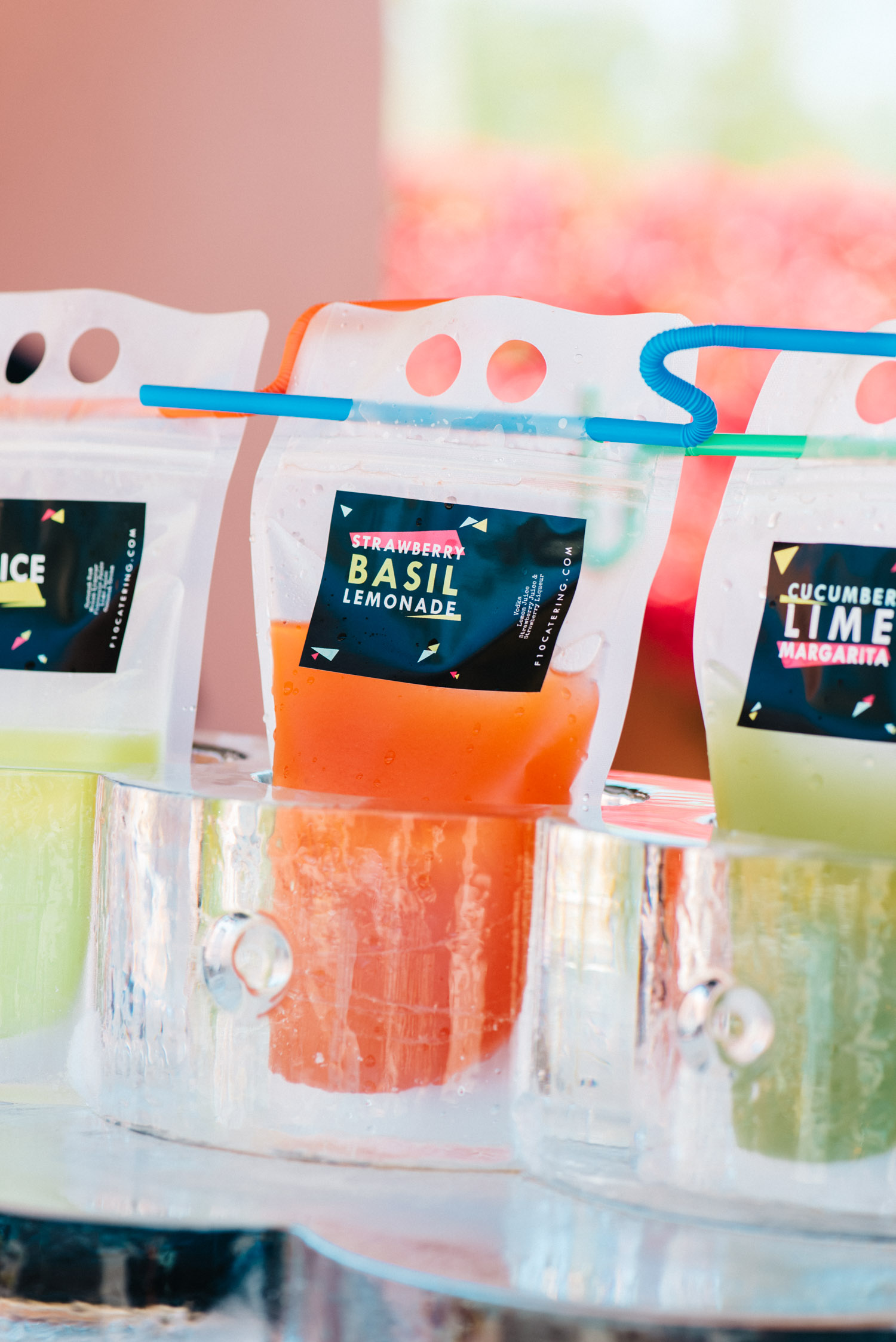"Strawberry Basil Lemonade ""Capri Sun"" -  F10 Catering  image credit:  Sarah Dickenson"