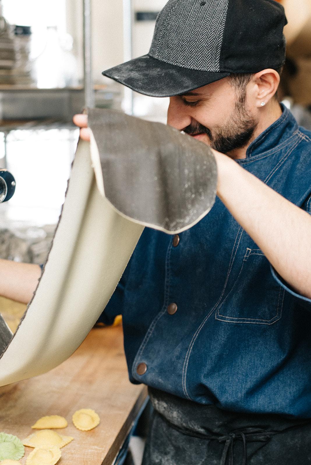 Chef Marco making black and white pasta at Birba image credit:  Sarah Dickenson