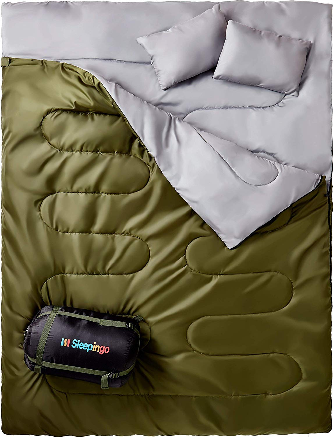 3. Sleepingo Double Sleeping Bag - There are an insane amount of sleeping bags to choose from all serving specific needs at a variety of price points. The Sleepingo Double ($57.95) is in our opinion pretty amazing. It fits two people, which is great for snuggling, it unzips by your feet incase you get hot, has a velcro tab so the bag doesn't come all the way undone in the middle of the night, comes in a variety of colors, and can unzip and create two totally separate sleeping bags incase the need arises.