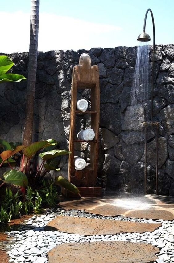 8. Add A Pathway - If you want to make your outdoor shower feel even more grand, create a unique pathway that leads the way to your hidden oasis.