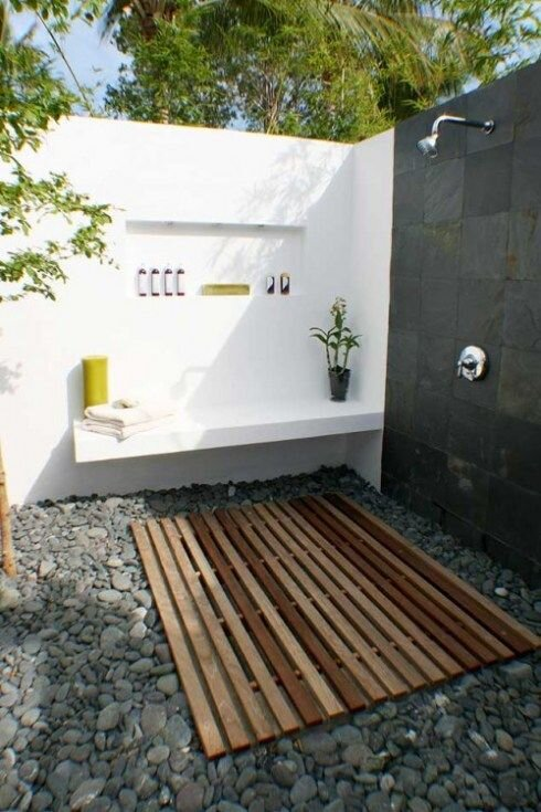 7. Add Seating - Your outdoor shower doesn't need to have tons of bells and whistles to be beautiful, but the addition of a bench adds a convenient place to put your towel or to relax and dry off in the sun and fresh air before returning to real life.