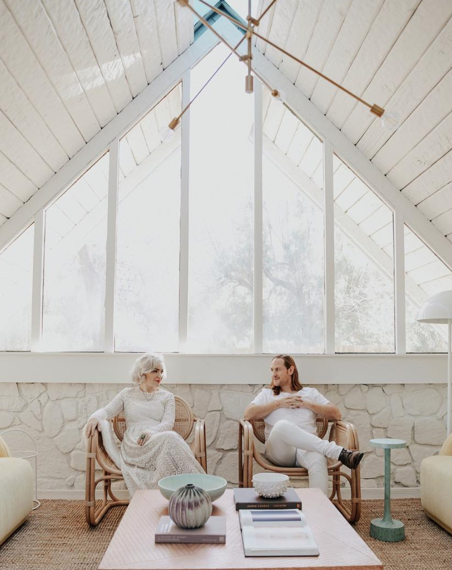 Caroline + Jayden Lee of Woodnote Photography inside their Palm Springs A-frame. Photo:  Logan Cole