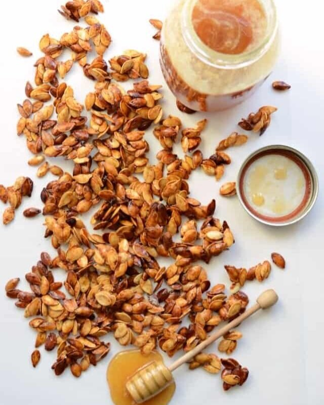 3. Honey Roasted Pumpkin Seeds - A Halloween classic that never gets old. These Honey Roasted Pumpkin Seeds are healthy, naturally sweetened way to enjoy the leftovers from your pumpkin carving party. With a heavy dash of cinnamon they'll be enjoyed by both kids and adults alike!