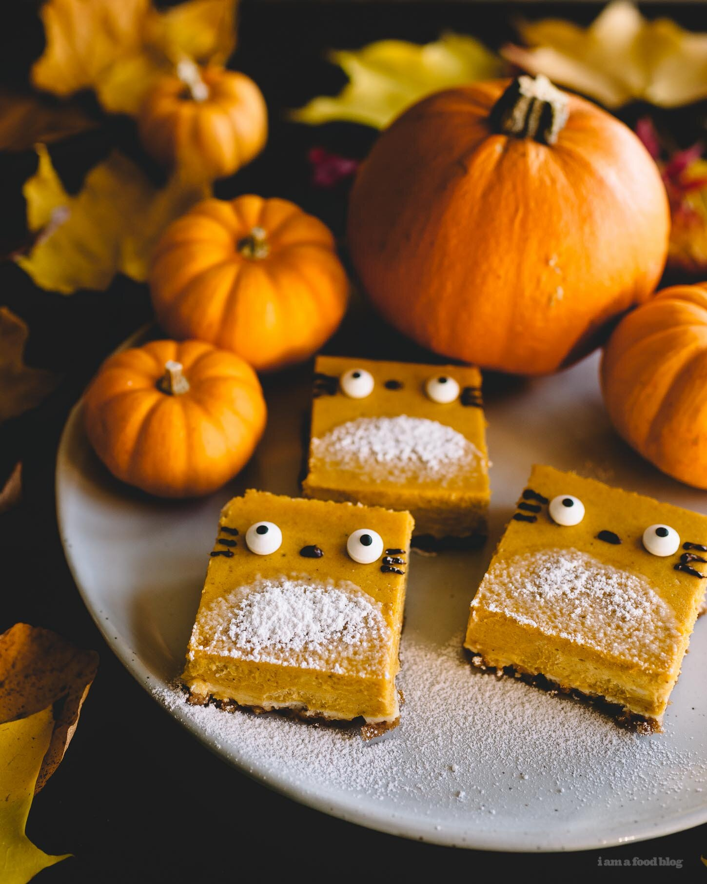 6. Totoro Pumpkin Cheesecake Bars - Looking for something unique and easy to make this Halloween? These Totoro shaped Cheesecake Bars will do the trick! They do not require you to turn on your oven, are made with minimal ingredients and are adorable - oh, and not to mention are pumpkin flavored!
