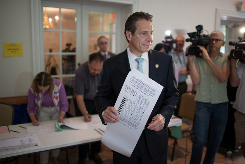 Gov.  Andrew Cuomo  (D-NY) cast his vote in the Democratic primary election at the Presbyterian Church of Mount Kisco. Source : Official Photograph/New York Governor's Office.