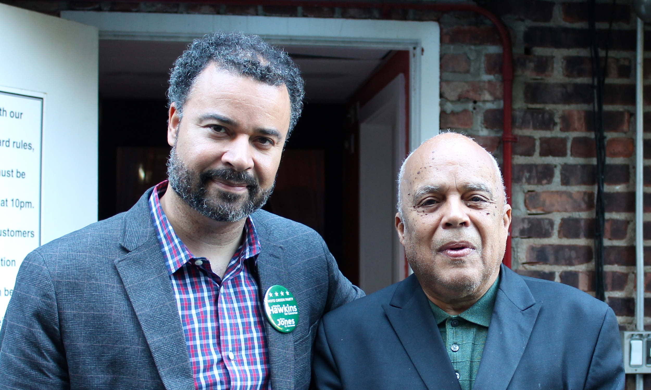 Green Party candidates  Brian Jones , left, and  Ramon Jimenez , right. Mr. Jones is campaigning for Lieutenant Governor, and Mr. Jimenez is campaigning for Attorney General. Both men appeared at a meet and greet with voters at Flynn's Garden Inn in Woodside, Queens. Source : Louis Flores