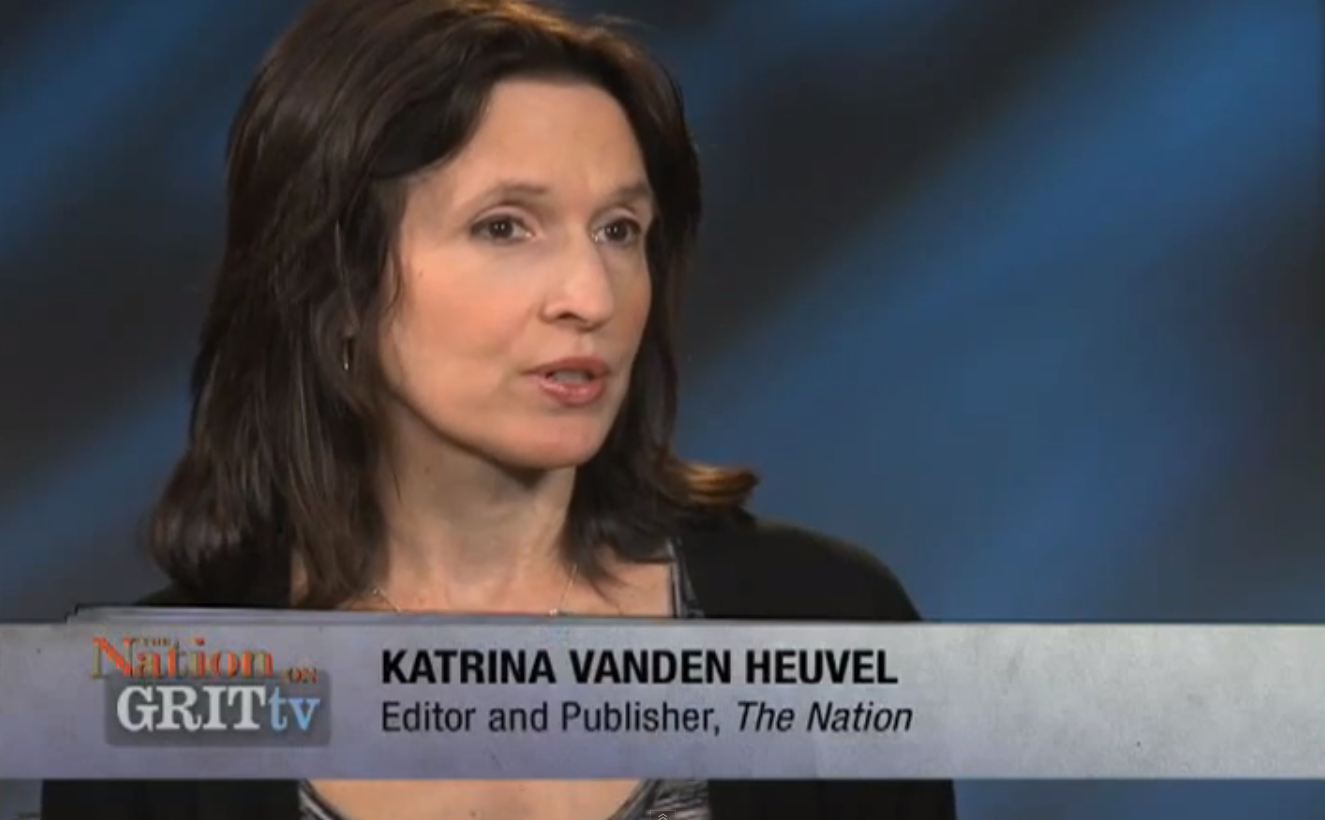 Katrina vanden Heuvel  seen here in a 2011 interview available on YouTube. Ms. vanden Heuvel, the publisher of  The Nation  magazine, donated over $100,000 to a campaign committee account of the  Working Families Party  to support Mayor  Bill de Blasio 's efforts to form a new  Democratic Party  majority in the New York State Senate. Source : Grit TV/The Nation/YouTube Screen Shot