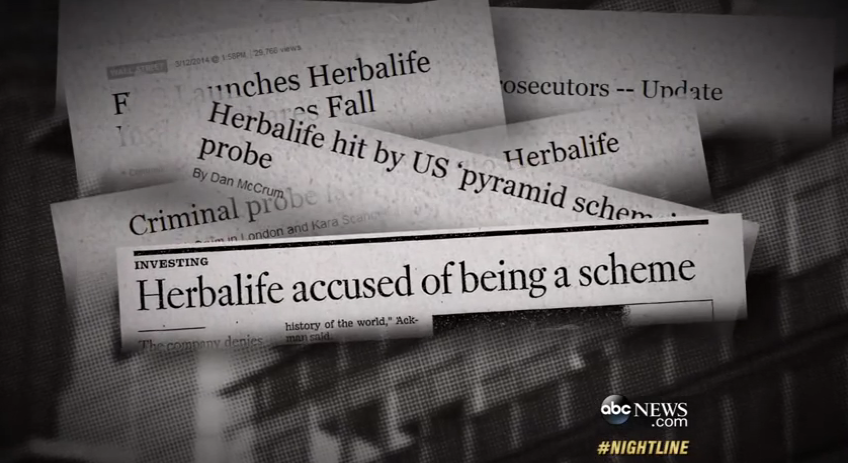 A montage of bad headlines for Herbalife. Source : ABC News/YouTube Screen Shot