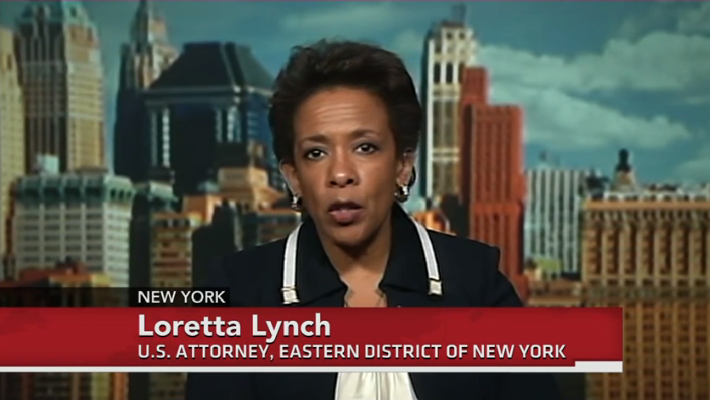 U.S. Attorney Loretta Lynch, the nation's top federal prosecutor oversees New York's eastern district, which covers Brooklyn, Queens, Staten Island, and Long Island.  Seen here in a 2013 interview on PBS's New Hour, U.S. Attorney Lynch is reportedly being considered by President Barack Obama as the nation's next U.S. Attorney General. Source :  PBS News Hour/YouTube Screen Shot