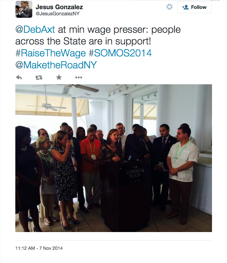 One of the events held during the SOMOS 2014 fall conference was a press conference about raising the minimum wage. Latinos, who work on the sales force for Herbalife, have complained that they do not make back the thousands of dollars they invest to buy into the business opportunity to sell Herbalife's nutritional products. Source : Jesus Gonzalez/Twitter Screen Shot