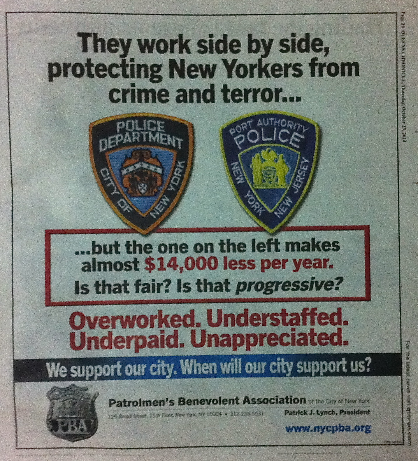 Another full-page advertisement, this one printed in the Oct. 23, 2014, edition of  The Queens Chronicle .  Source :   The Queens Chronicle /Photograph by Progress Queens