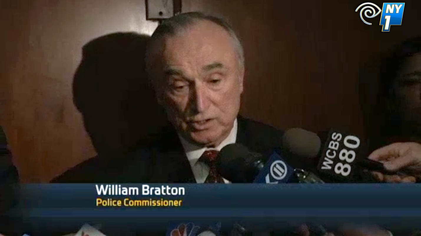 NYPD Commissioner William Bratton was interviewed by TV reporters about today's shooting death of Calvin Peters, a man described to have lived with mental health needs. Mayor Bill de Blasio made promises last month that the city's law enforcement would stop treating people with emotional or mental health needs with medical care instead of treating them as criminals. Source : NY1 News Screen Shot