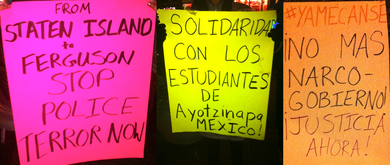 A collage of protest signs at Wednesday night's vigil in Corona. Queens residents and police reform activists joined in solidarity to denounce brutality and homicides committed by police from mexico to the United States. Source : Louis Flores