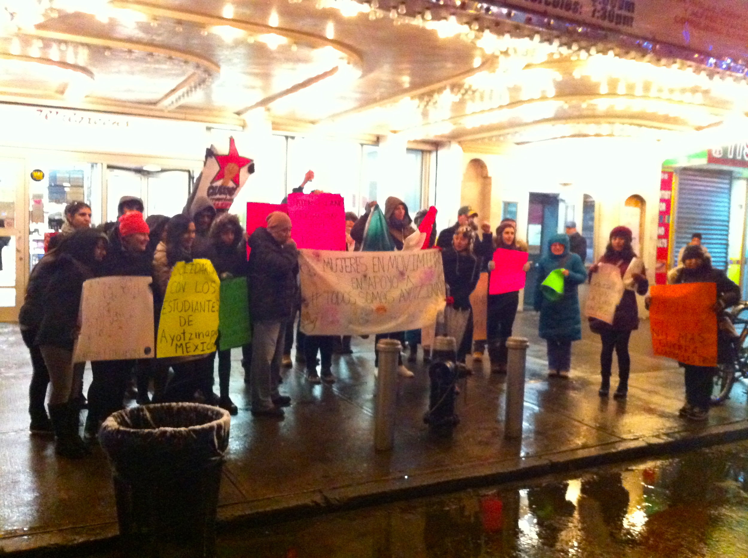 Some of the police reform activists and Queens residents, who participated ina vigil that lasted for almost 2 hours in snowand freezing rain conditionsWednesday night atCorona Plaza. Source : Louis Flores