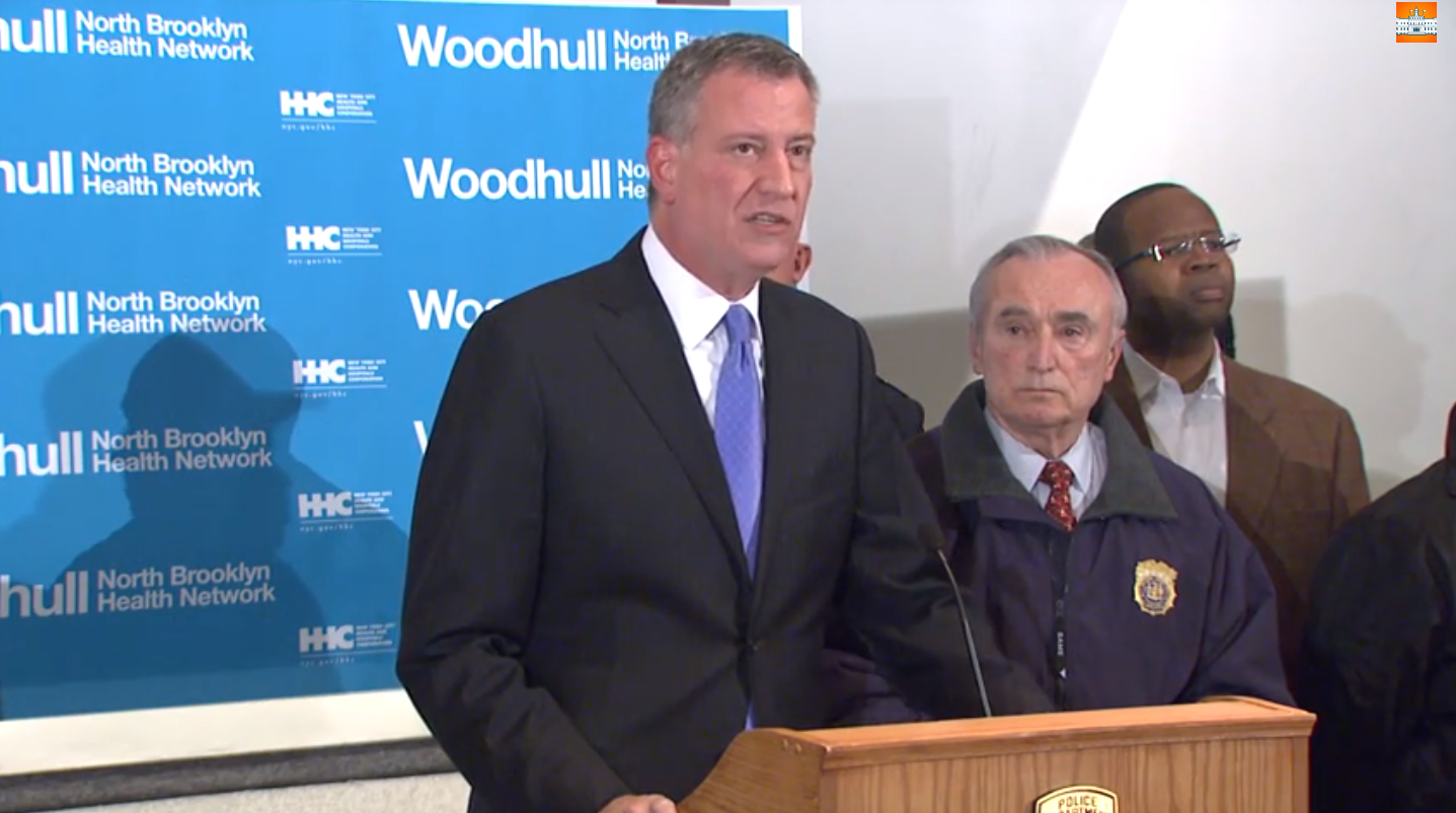 Mayor Bill de Blasio speaking during Saturday night's press conference at Woodhull Hopsital in Brooklyn, where the bodies of two slain NYPD officers were taken to.  Source :  New York City Mayor's Office/Official YouTube Account Screen Shot