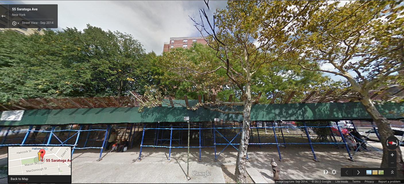 55 Saratoga Avenue, in Bedford-Stuyvesant, Brooklyn, was almost entirely obscured by thelate summer foliage of September 2014. However, this photograph clearly reveals the scaffolding encircling the building three months before the transaction agreement for the building's sale and financing were signed. Leading city housing officials have justified the sale of publicassets to a consortium of private real estate investors on the premisethat the portfolio of buildings were too dilapidated for a cash-strapped NYCHA to maintain. NYCHA Source : Google Street View