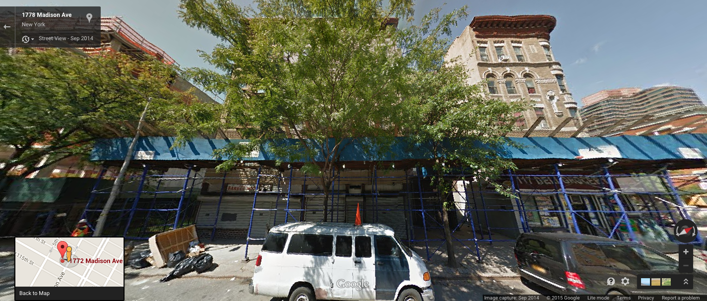 1780 Madison Avenue, obscured by a large tree, center, and 1782 Madison Avenue, right, seen here in September 2014, were included amongst a portfolio of project-based, Section 8 buildings sold by NYCHA to a consortium of private real estate developers. Officials with the corporation counsel of the City of New York approved the transaction agreements for the sale of the buildings, which sidesteppedthe ULURP process. Source : Google Street View