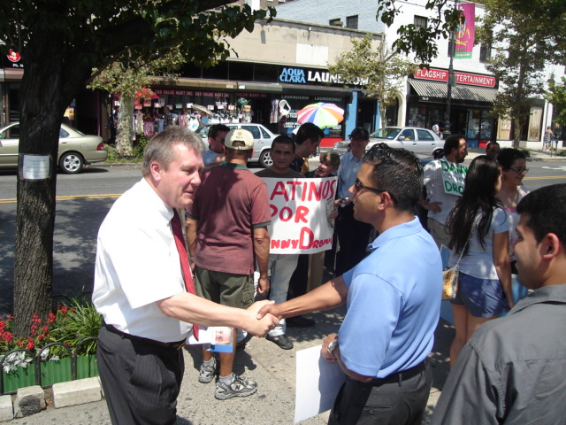 Daniel Dromm , left, campaigning for City Council in 2009 at a campaign rally in Jackson Heights, Queens. Before he took office, Mr. Dromm was more of an activist against NYPD discrimination against the LGBT community. Source : Louis Flores