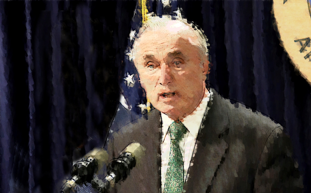 NYPD Commissioner  William Bratton  appearing at a press conference on May 25, 2014. Source : Photo Illustration by Progress Queens based on an official photograph courtesy of the Office of the State Attorney General Eric Schneiderman/Flickr