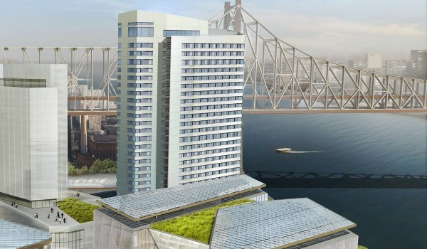"""Cornell University has  announced on its Web site  that the """"first residential building on its Roosevelt Island campus, developed in partnership with the Hudson Companies, will become the first high-rise residential building in the world built to Passive House standards."""" Source : Cornell-Technion/Fair Use"""
