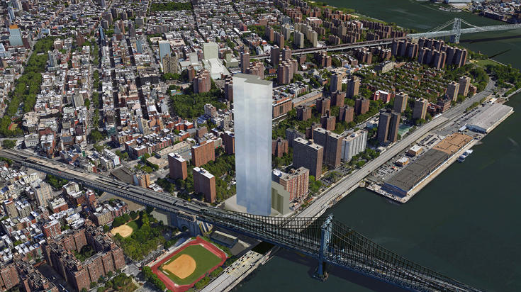 A rendering of the proposed  Extell Development Company  tower that will rise near the site of the former Pathmark supermarket. Residents of Chinatown and the Lower East Side have opposed the proposed Extell tower, not just because it is out of scale with the community, but also because it is rampant luxury development, such as this, that leads to gentrification, the displacement of long-term residents, and the upward spiral of rents for remaining tenants in the area. Rendering Source :  CityRealty
