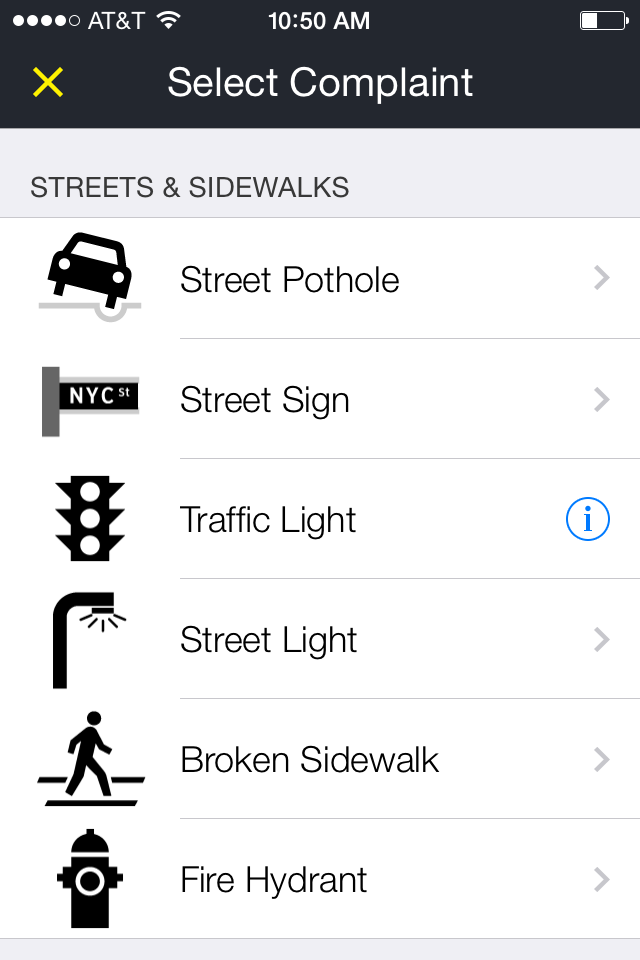 The 311 app has also become the subject of complaints, particularly about technical difficulties related to automatic GPS locationing and error messages, such as loss of Internet signal.  Not all reporting functions are operational on the 311 app, such as reporting traffic lights that are in disrepair, which must still be prorated by telephone call.  Source :  The 311 App/NYC.gov