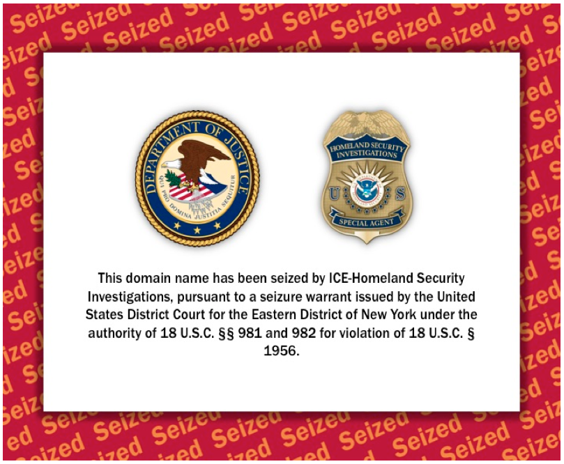 """The Web site for  Rentboy.com  now redirects to the domain  SeizedServer.com  and bears the seal and shield of federal law enforcement agencies, circumscribed about which a scarlet warning reading """"Seized"""" is repeated for emphasis. Source : SeizedServer.com"""