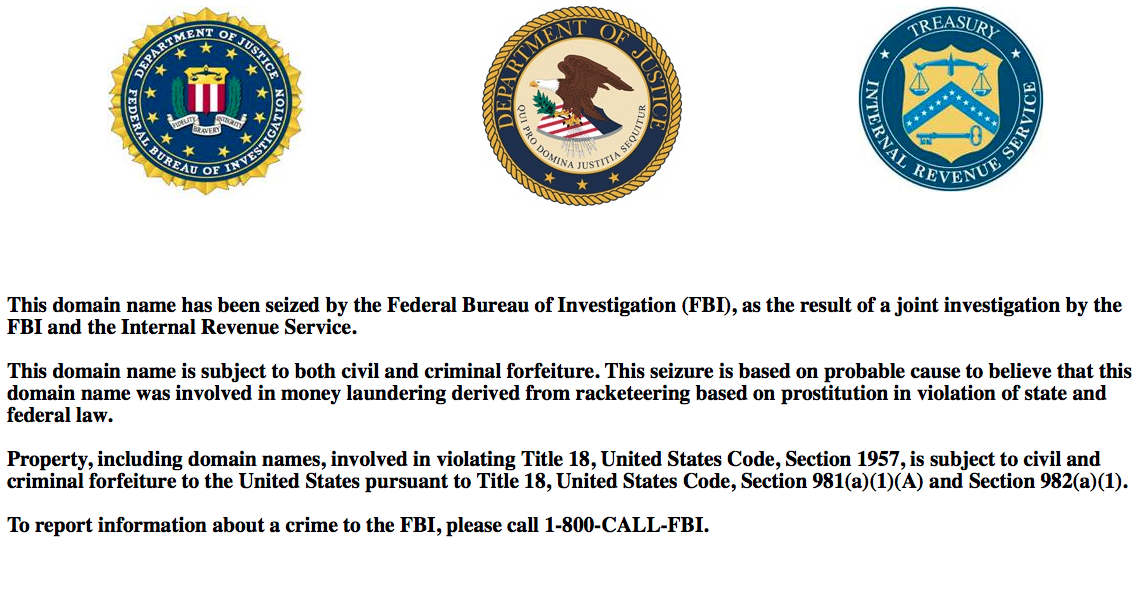 The Web site for  myRedBook.com  now only shows the officials seals of the  Federal Bureau of Investigation , the  U.S. Department of Justice , and the  Internal Revenue Service . The Web site was seized in 2014 by law enforcement officials after allegations were made that myRedBook.com was a racketeering enterprise. Source : myRedBook.com