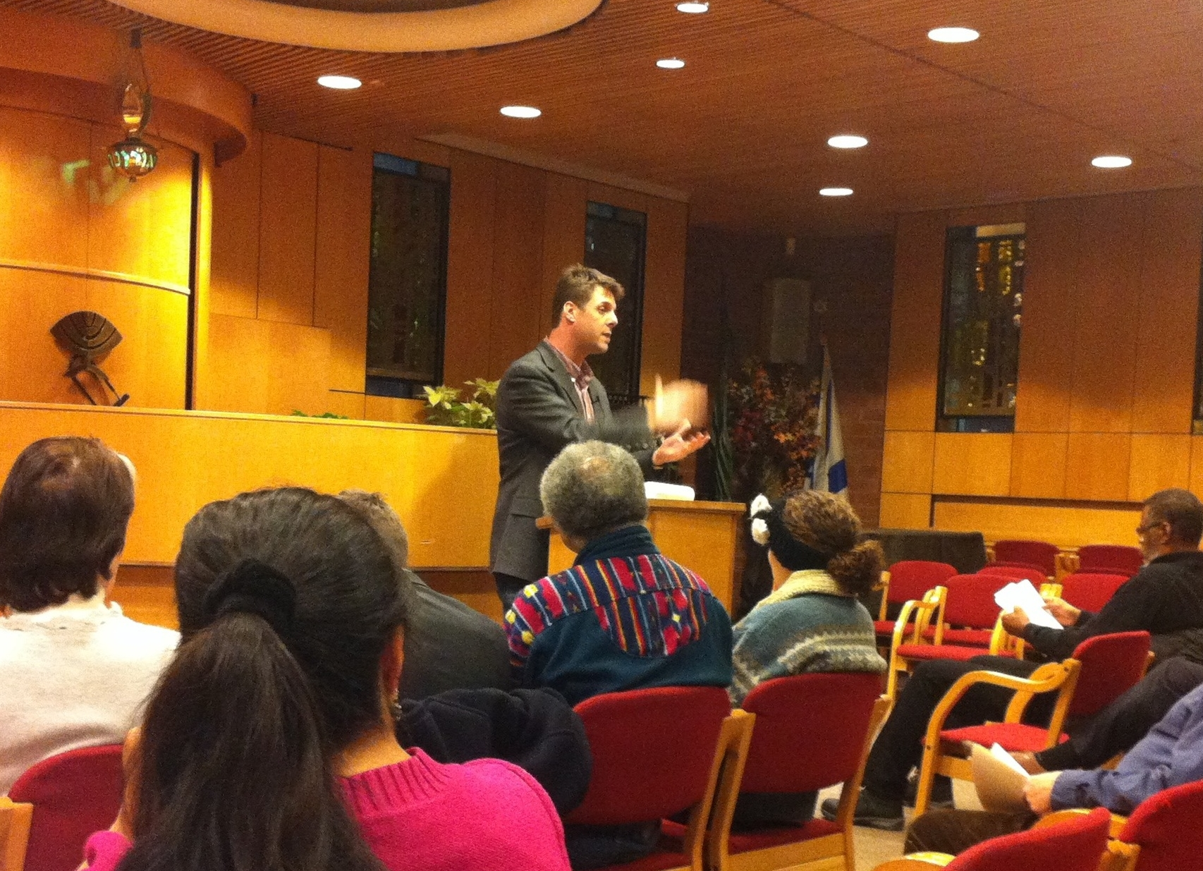 Peter Sikora , a community organiser from Brooklyn and a research economist with the  Communications Workers of America , District 1, spoke at the  Jewish Community Center  in Jackson Heights on Thursday evening.  Source :  Louis Flores/Progress Queens
