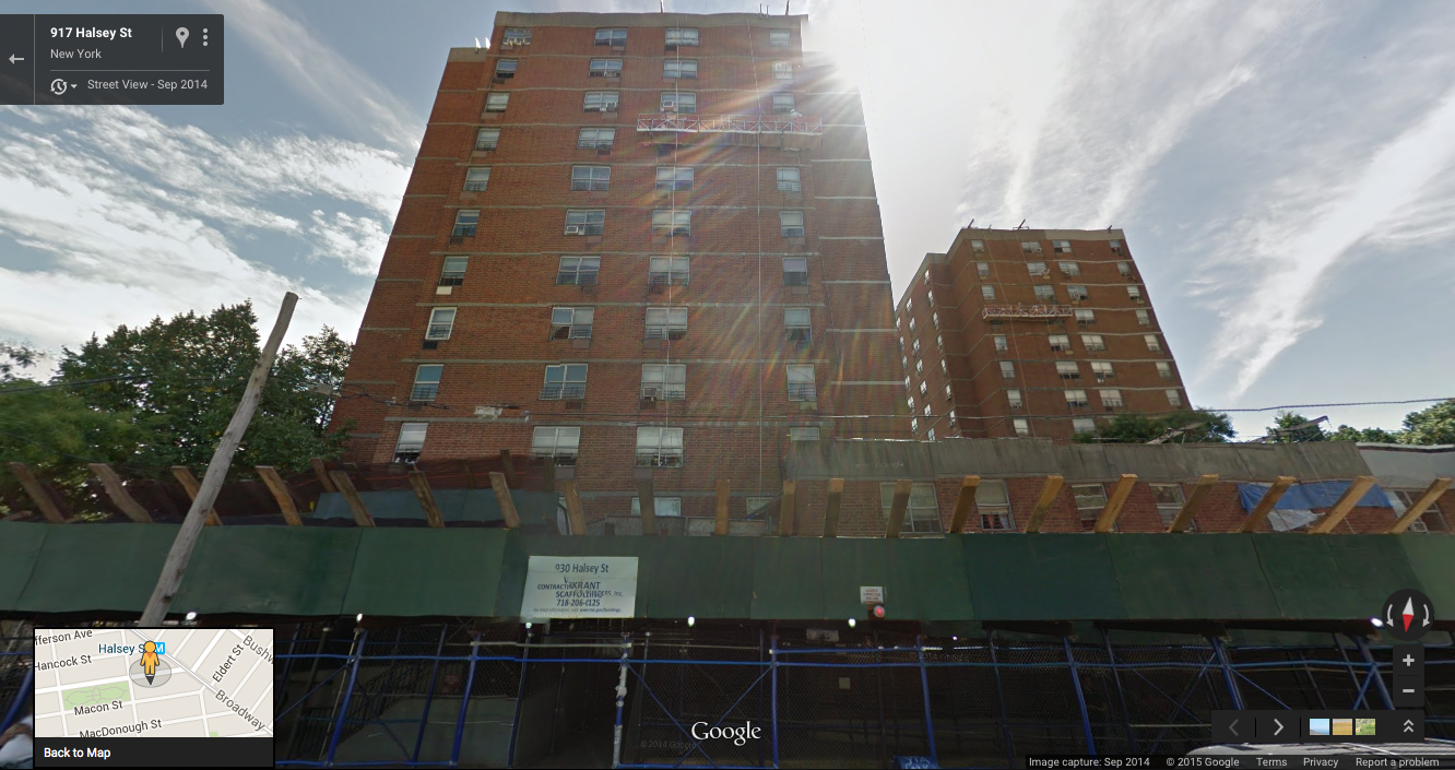 930 Halsey Street at left and 55 Saratoga Avenue at right, in Bedford-Stuyvesant, Brooklyn, seen here in September 2014, with workmen suspended on mobile scaffolding in front of both buildings, making substantive repairs. These two buildings, and their corresponding playgrounds, parking lots, and undeveloped property were sold three months later to a consortium of politically-connected real estate developers with close ties to the de Blasio administration. CREDIT : GOOGLE STREET VIEW