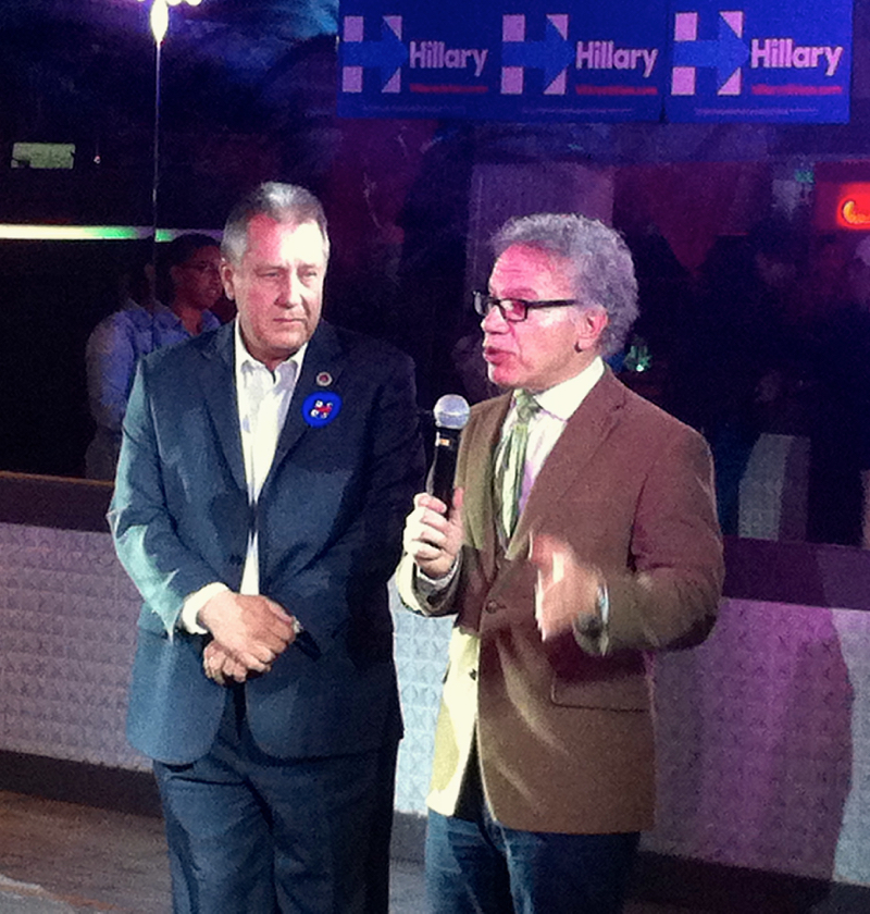 "New York City Councilmembers Daniel Dromm, left, and James Vacca at Club Evolution on Wednesday evening. Councilmember Vacca announced that he would be attending the Democratic National Convention as a delgate, adding that, ""I'm voting for Hillary."" Source : Louis Flores"