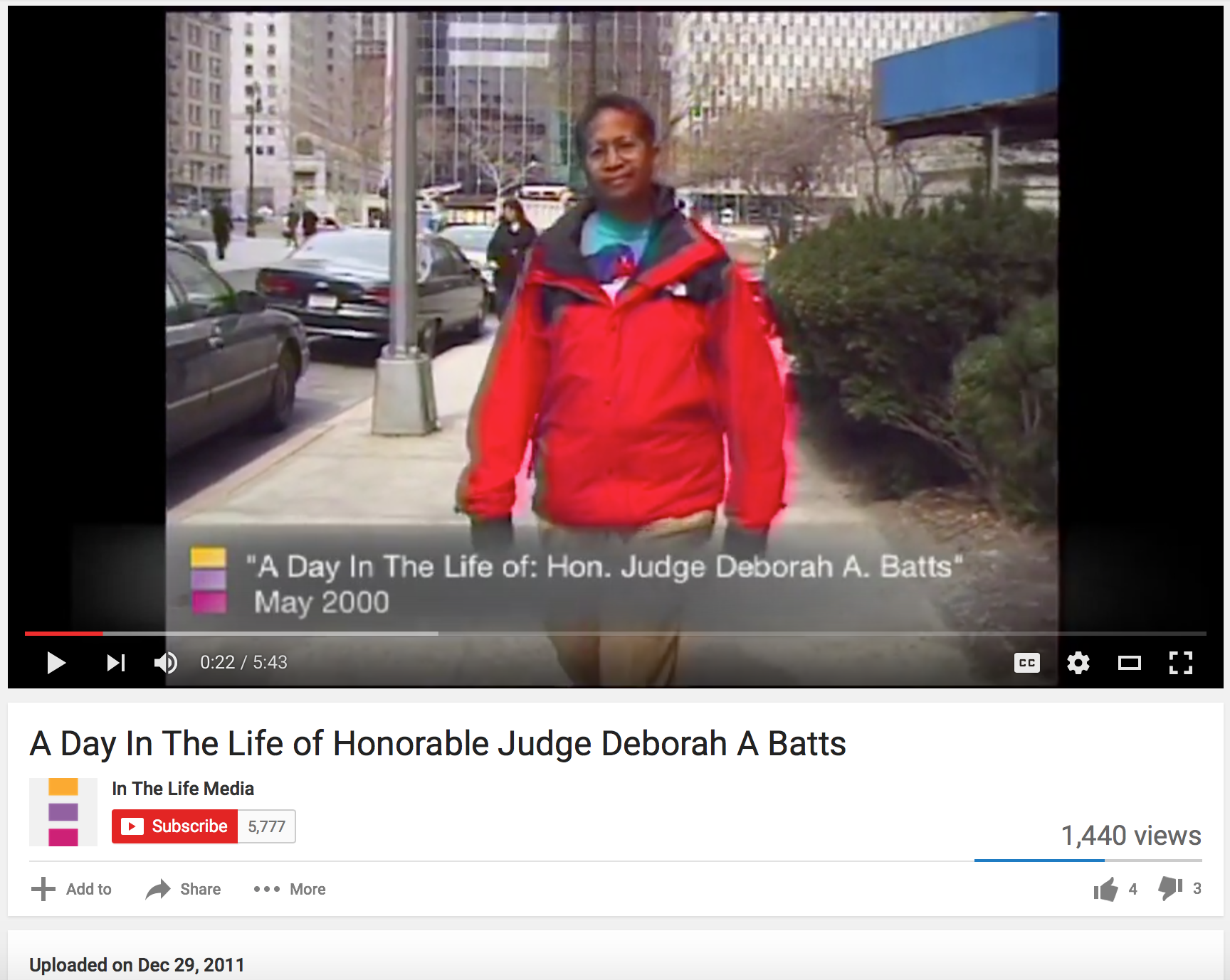 The Hon. U.S. District Court Judge  Deborah Batts  in a video report about her judicial work. Source :  In The Life Media/YouTube (Screen Shot)
