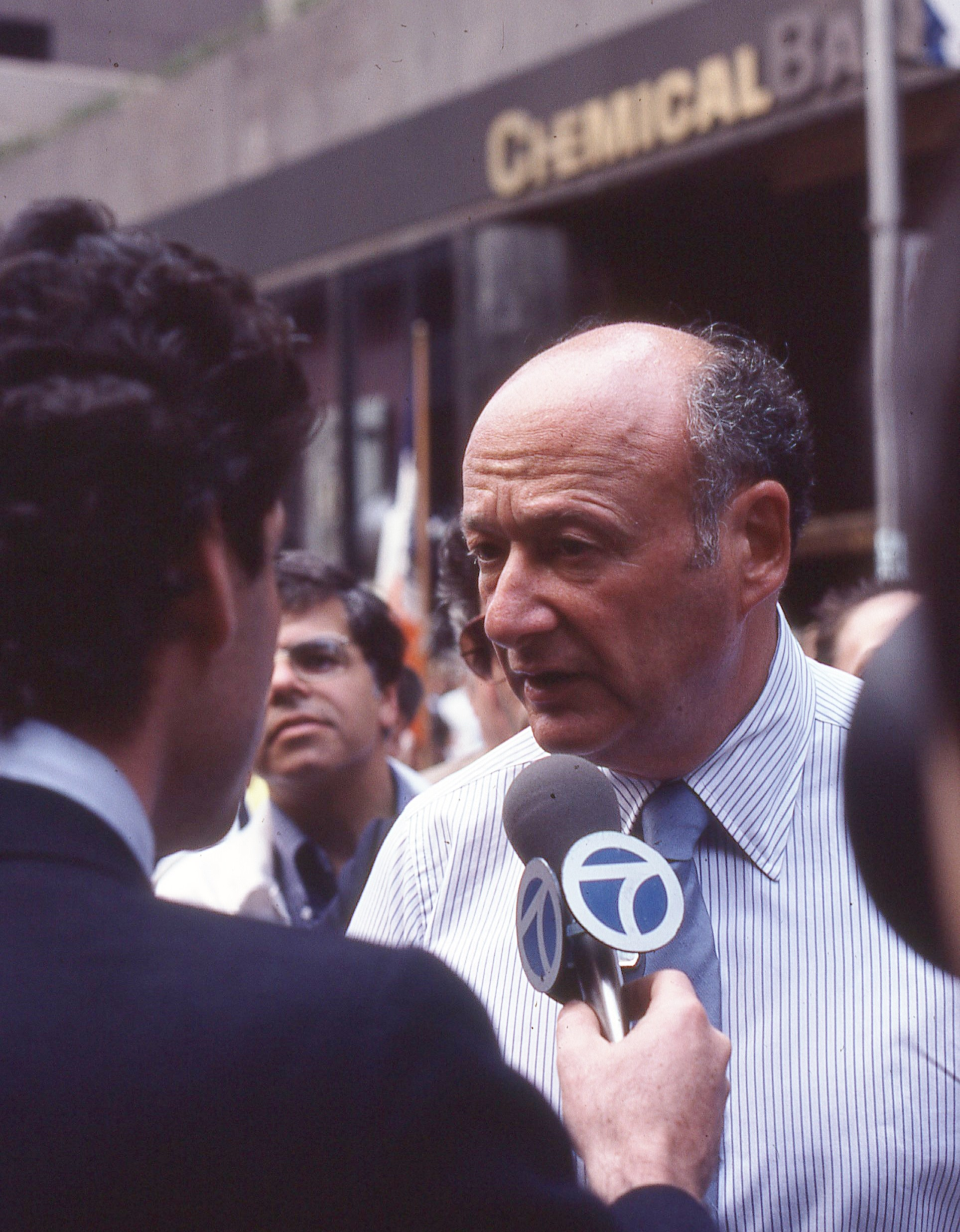 "Mayor  Ed Koch  giving interview to WABC-TV in 1981. During Mayor Koch's administration, not even the Federal racketeering prosecution of a senior administration official,  Alex Liberman , led to the nullification of real estate contracts that had been corruptly negotiated by Mr. Liberman, according to the muckraking book, ""City For Sale."" Source : Wikipedia/CC BY-SA 4.0 by Bill Golladay"