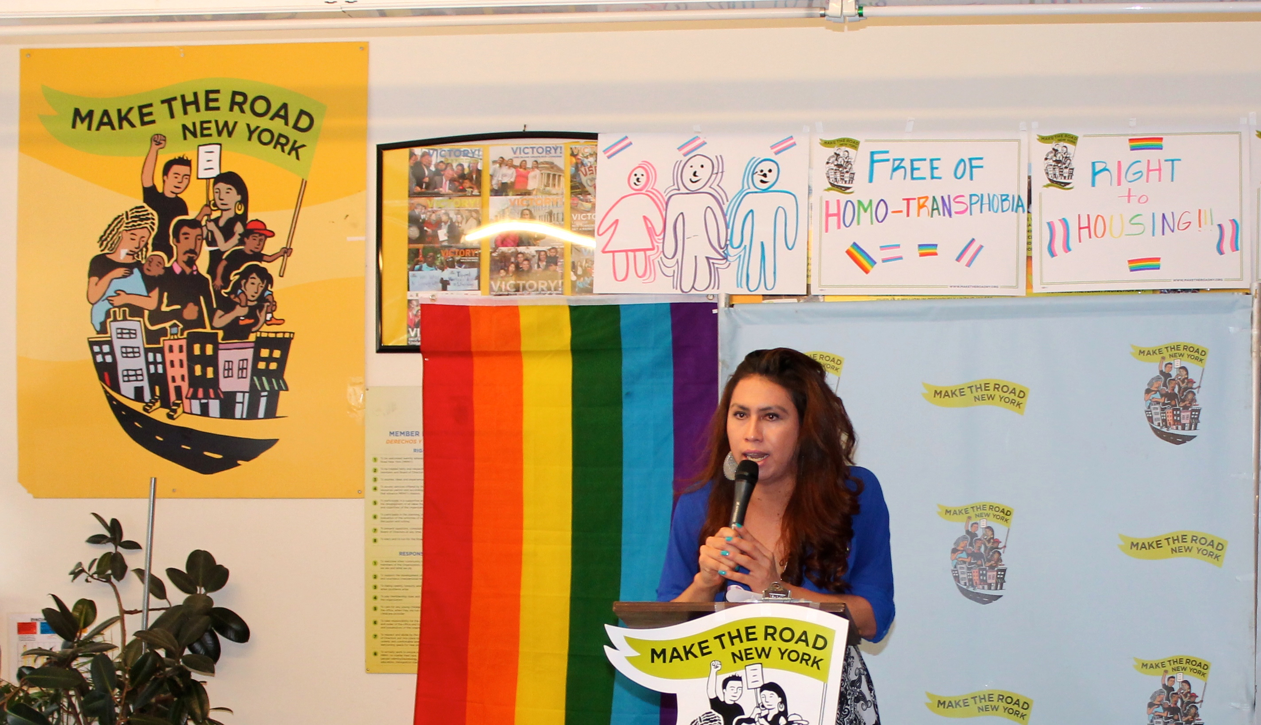 Bianey Garcia , the Pryde-LGBTQ organiser for  Make the Road New York , delivered introductory remarks in Spanish during the press conference on Monday in Jackson Heights, Queens. Source : Louis Flores/Progress Queens