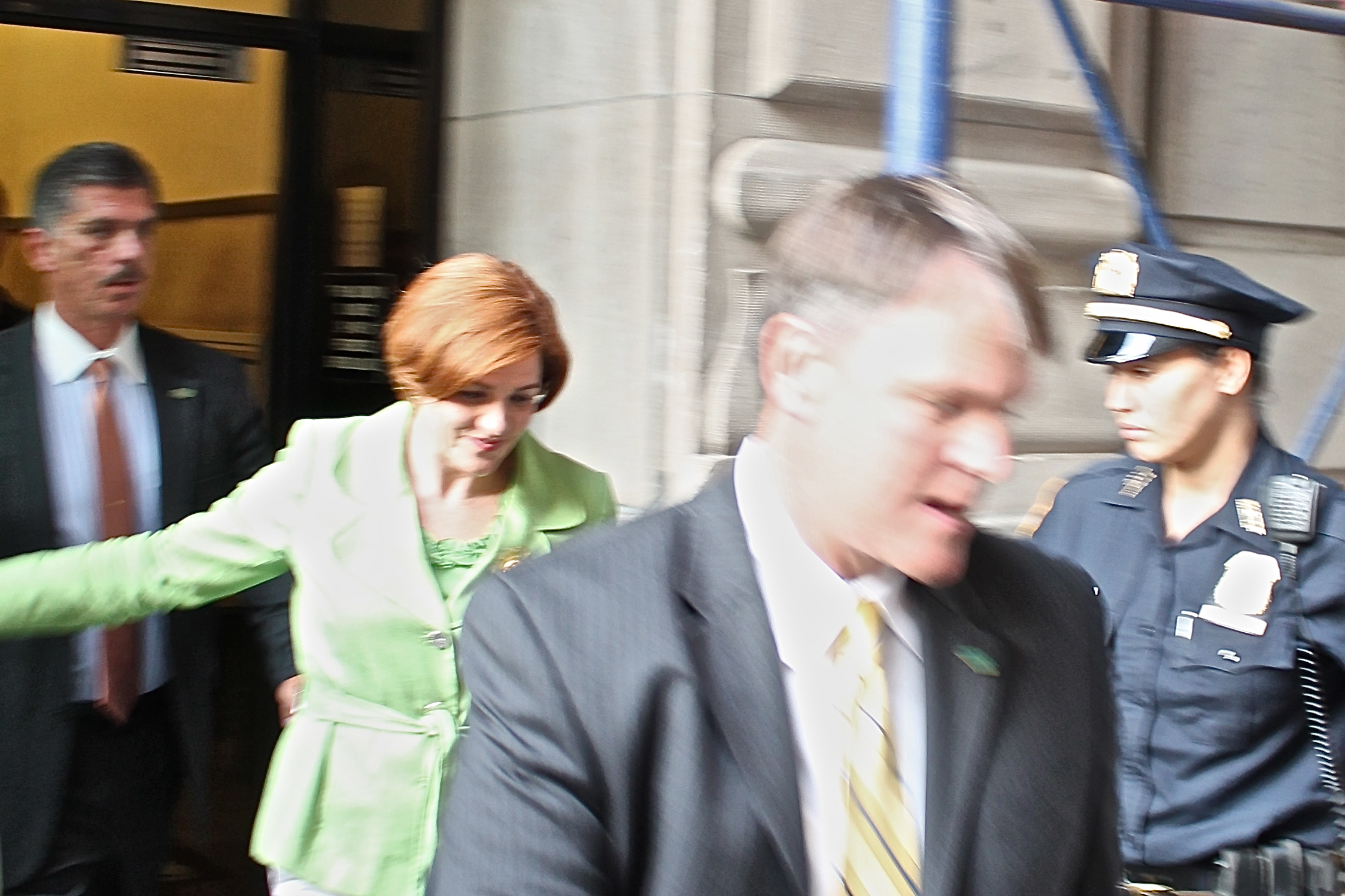 Former New York City Council Speaker  Christine Quinn  (D-Cheslea), exiting a fundraiser for her failed 2013 campaign for New York City mayor. Source : Louis Flores/Progress Queens