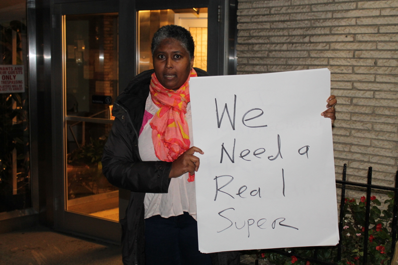 Reina Seedarnee , a tenant of 12 years at 60 Turner Place, said that the landlord has at times stopped cashing her rent checks in order to deliberately sue her for nonpayment of rent. Ms. Seedarnee is a tenant organizer in the apartment building managed by  ADI Management . Under the  Fair Housing Act , landlords are prohibited from retaliating against tenants, who provide assistance to others in exercising their tenants' rights. Source : Louis Flores/Progress Queens.