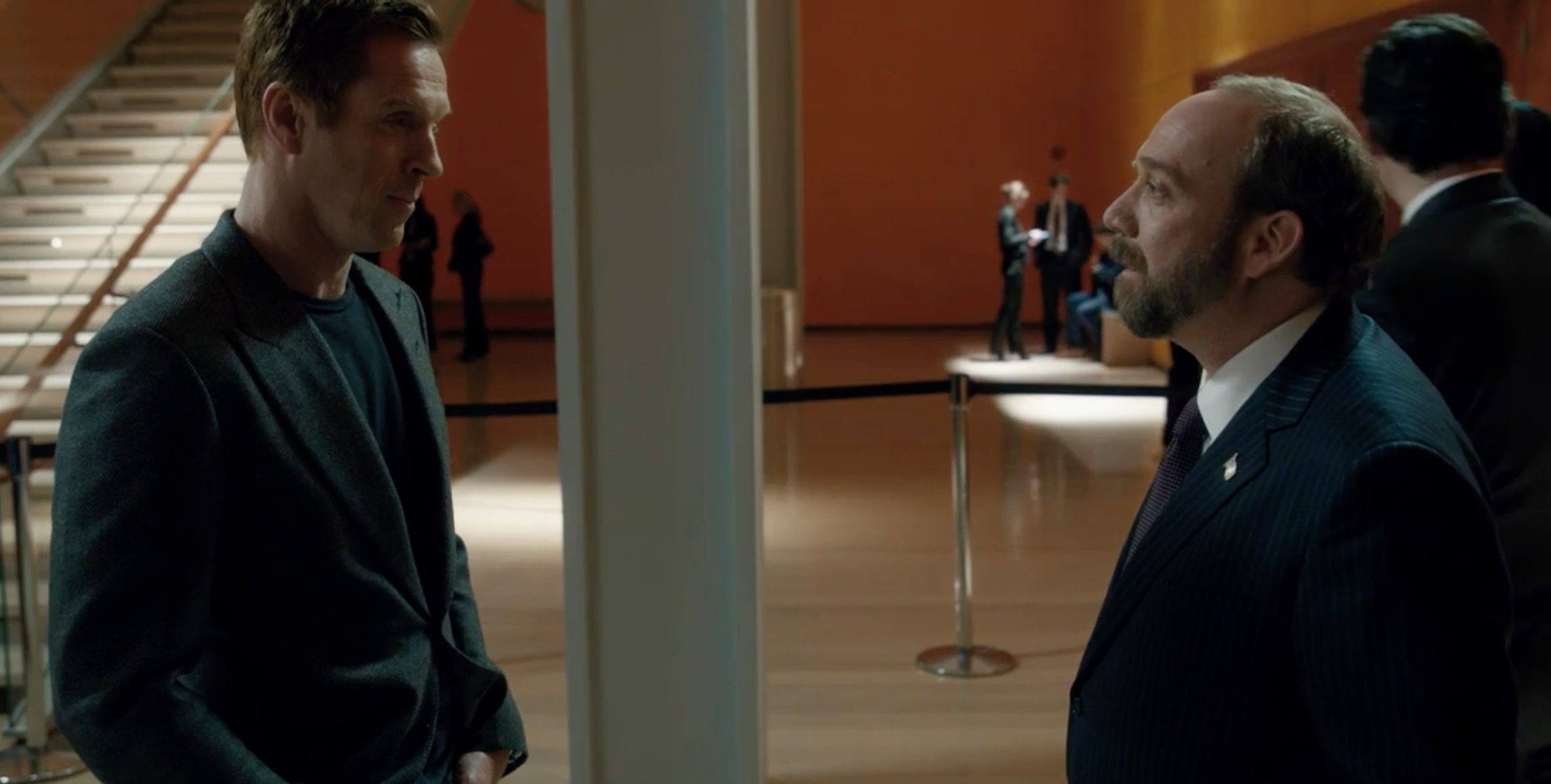 """Damian Lewis , left, reportedly portrays a hedge fund titan patterned after  Steven A. Cohen , and Paul Giamatti portrays a Federal prosecutor patterned after U.S. Attorney Preet Bharara in the Showtime premium cable drama, """"Billions."""" Credit/Showtime/Fair Use"""