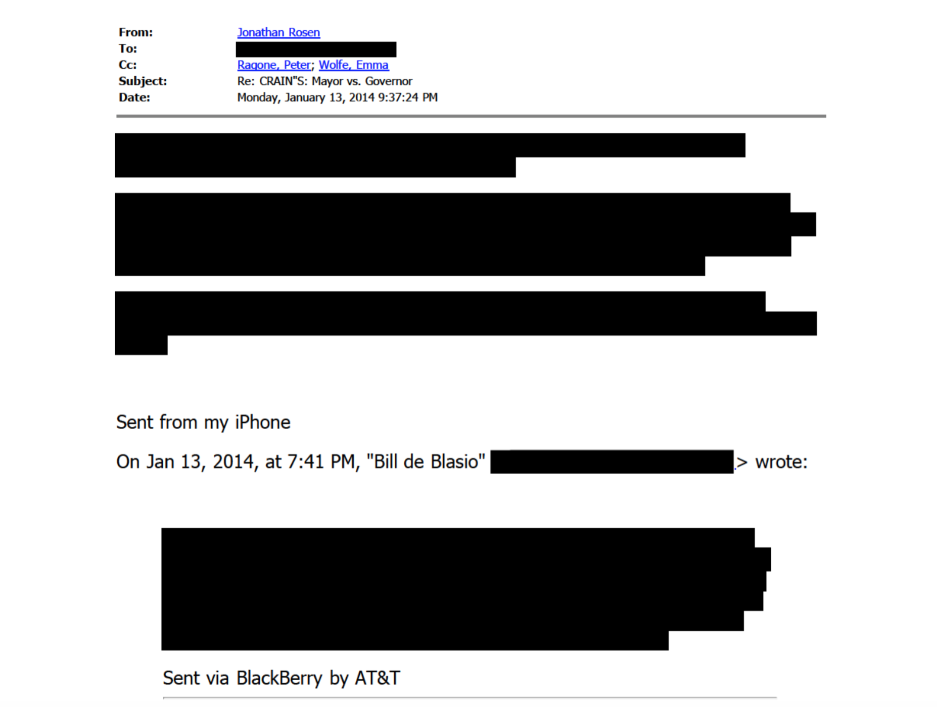 A screenshot of one example of the heavy use of redactions applied to some of the e-mails released by City Hall on Thanksgiving Eve. Source : NY1/FOIL Records/City of New York