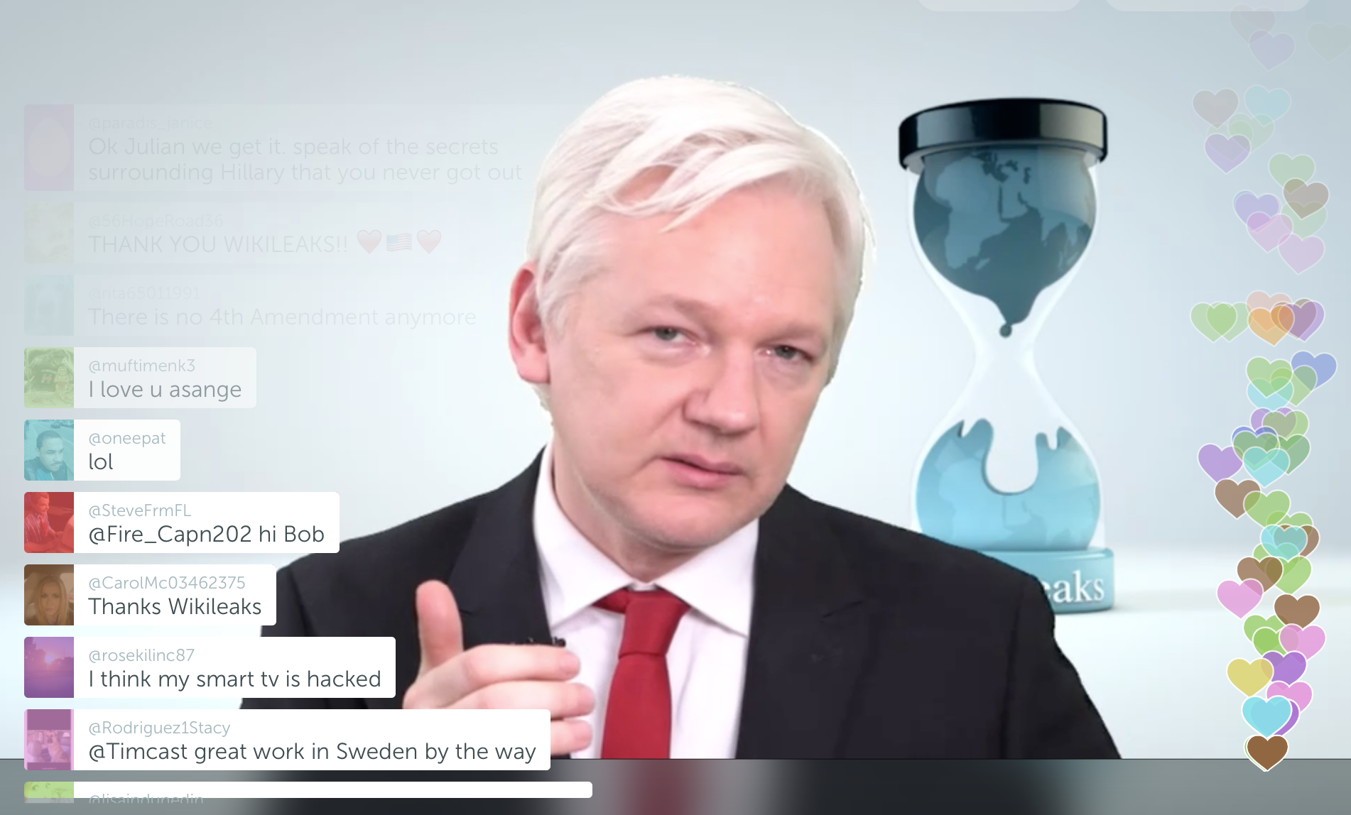 WikiLeaks founder Julian Assange provided a brief address before answering questions submitted via Twitter in a digital news conference broadcast using the Periscope platform on Thursday. Source : Periscope/Fair Use/Screen Shot